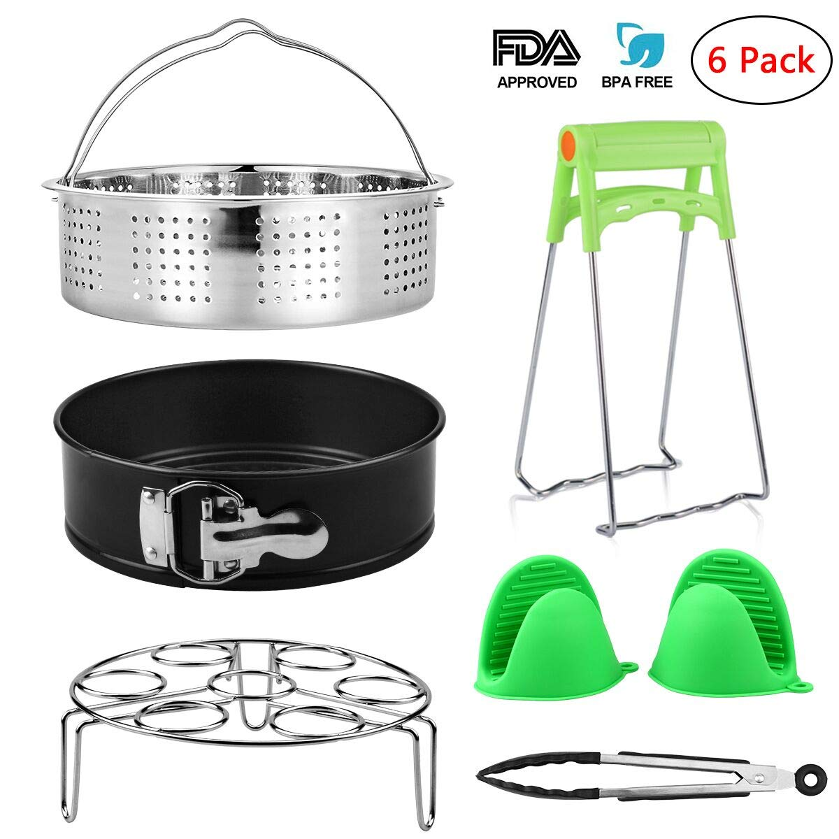 Instant Pot Accessories with Steamer Basket, Non-stick Springform Pan/Cheesecake Pan, Egg Steamer Rack, Oven Mitts, Silicone Kitchen Tongs - Fits 5,6,8 Quart Instant Pot Pressure Cooker, Set of 6