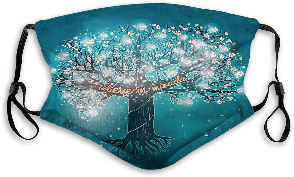 GABRI Mundschutz Gesichtsschutz Bl/ühender Baum des Lebens mit Glauben an Wunder Botschaft und Blumen Antistaub Waschbar und Wiederverwendbar Bandana mit Filtern