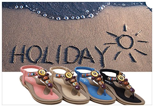 Women's Bling Crystal Rhinestone Silver Flip Flops Flat Sandals Ankle Strap Open-Toe Shoes in Bohemian Style by INNICON (Image #6)