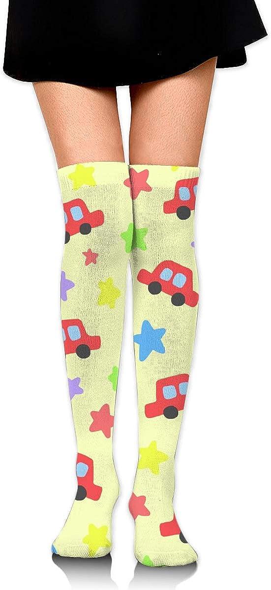 High Elasticity Girl Cotton Knee High Socks Uniform Red Car And Stars Women Tube Socks