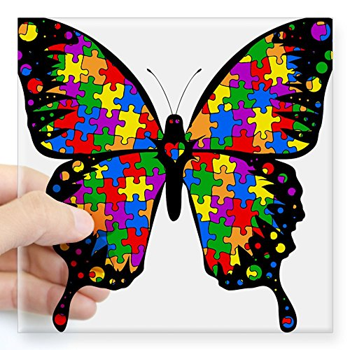 CafePress Autism Butterfly Sticker Square