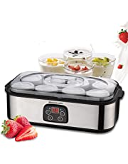 Homeleader Yogurt Maker, Automatic Digital Yogurt Maker with 8 BPA-Free Glass Jars and Lids (6oz Each Jar), Time & Temperature Control Display and Stainless Steel Design for Home Use, K32-031