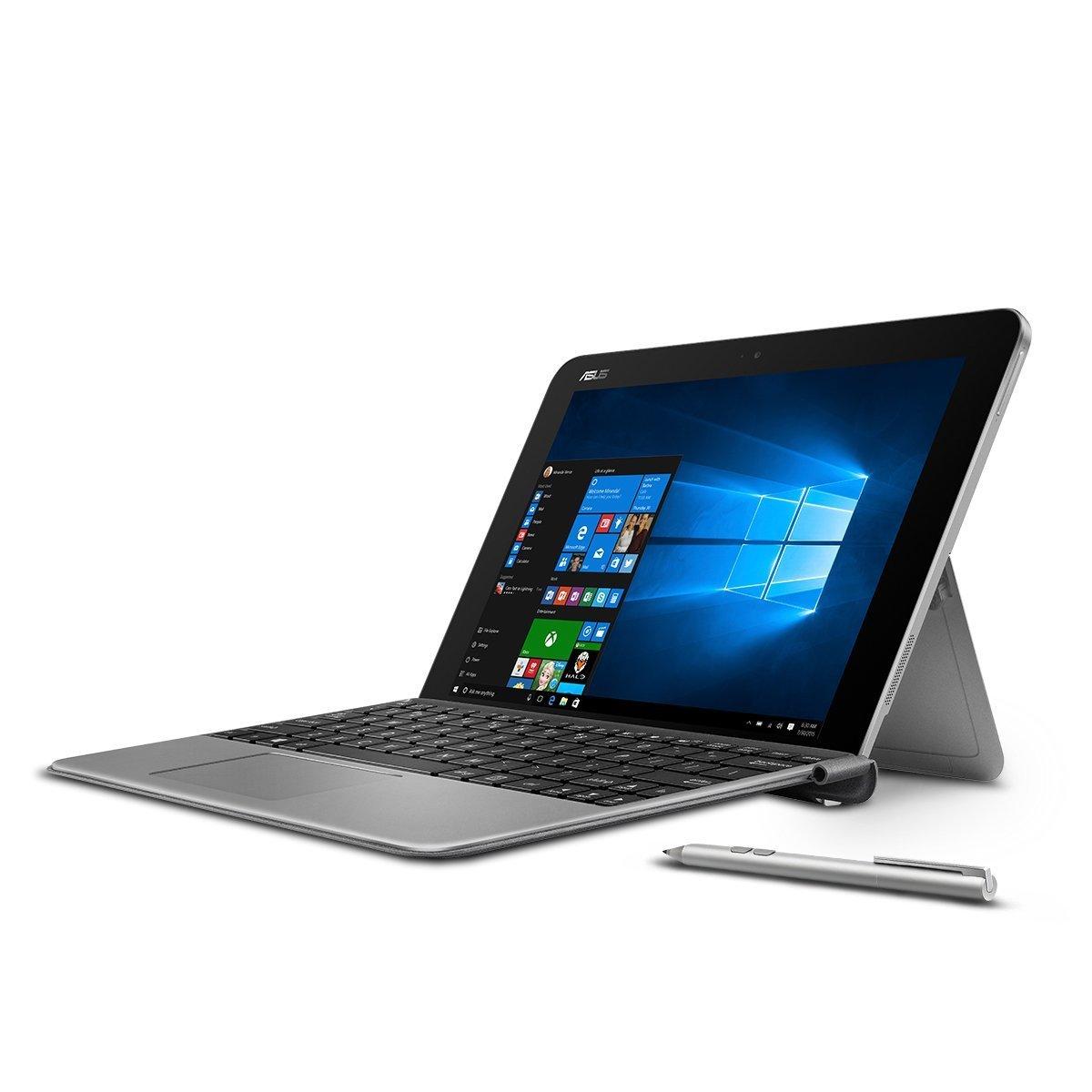 Premium ASUS Transformer 10.1'' Touchscreen 2-in-1 Laptop PC with Keyboard and Stylus Pen Intel Atom x5-Z8350 Processor 4GB RAM 64GB SSD 802.11AC Wifi HDMI Bluetooth Webcam Windows 10-Gray