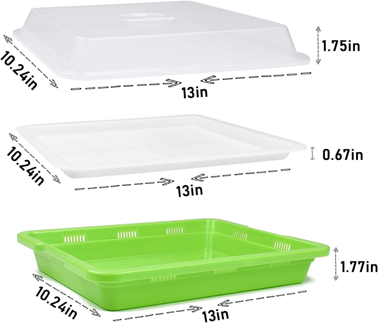 KORAM Seed Sprouter Tray BPA Free Nursery Tray for Seedlings Wheat Grass Grower Planter Hydroponics 2 Size Holes Grid Seed Germination Tray Sets with Germinating Paper for Garden Home Office 13 x14