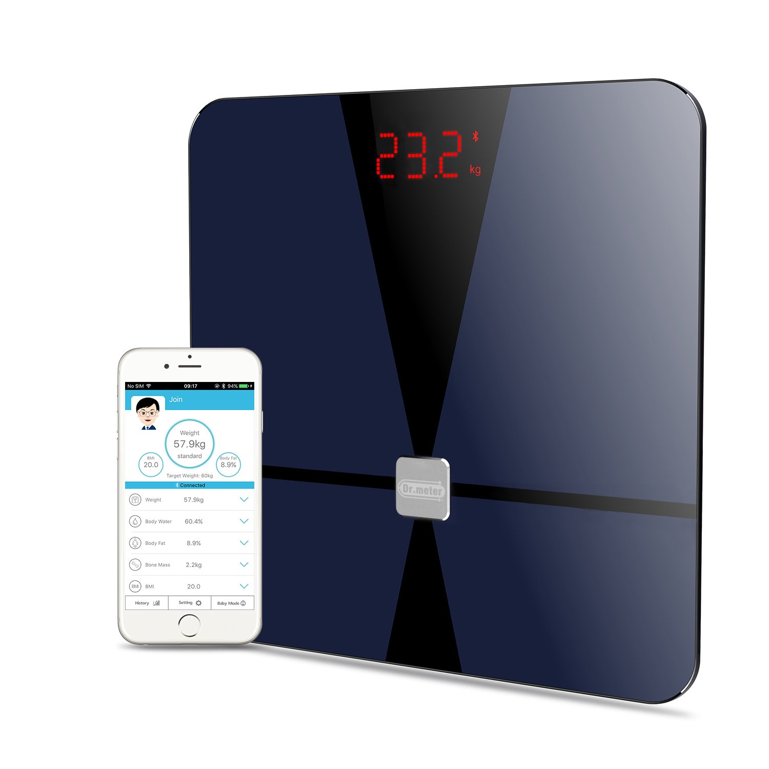 Bmi Digital Bluetooth Body Fat Scale, Dr.Meter Smart Bathroom Weight Scale Body Composition Analyzer Health Monitor with iOS and Android App, Sensitive ITO Conductive Tempered Glass Surface-Black