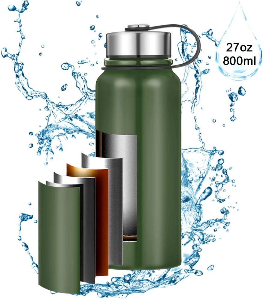Xcellent Global 12/27 Oz Double Walled Glass/Stainless Steel Vacuum Tea Coffee Water Bottle Wide Mouth with Strainer