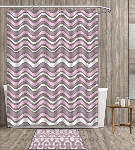 haommhome Geometric shower curtain sets bathroom Wavy Horizontal Stripes Ocean Pattern Abstract Inspirations Sea Effect Satin Fabric sets bathroom 72x72 inch Warm Taupe Pink Cream gift bath rug