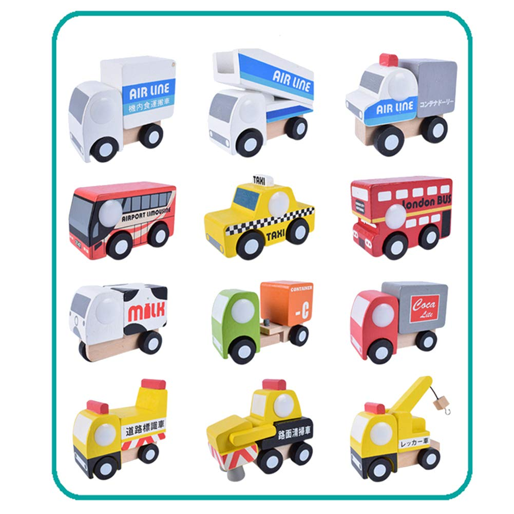 12 Pieces / Set of Simulated Wooden car Truck Model Children's Educational Toys Birthday Gift,Preschool Kid Education -Boy Girl Baby Toddler - Learning Kit - Educational Idea Three Four Five Year Old by FTHY-TOYS
