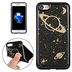 Generic For iPhone 8 & 7 Glitter Powder Space Pattern TPU Soft Protective Back Cover Case(Black)