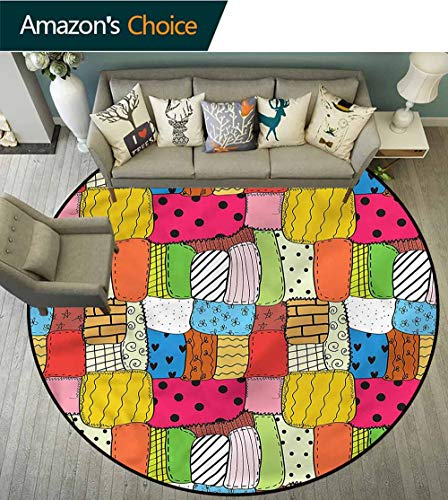 Contemporary Own Quilts - RUGSMAT Patchwork Round Area Rug,Lively Tone Quilt Pattern Home Decor Foor Carpet Round-63