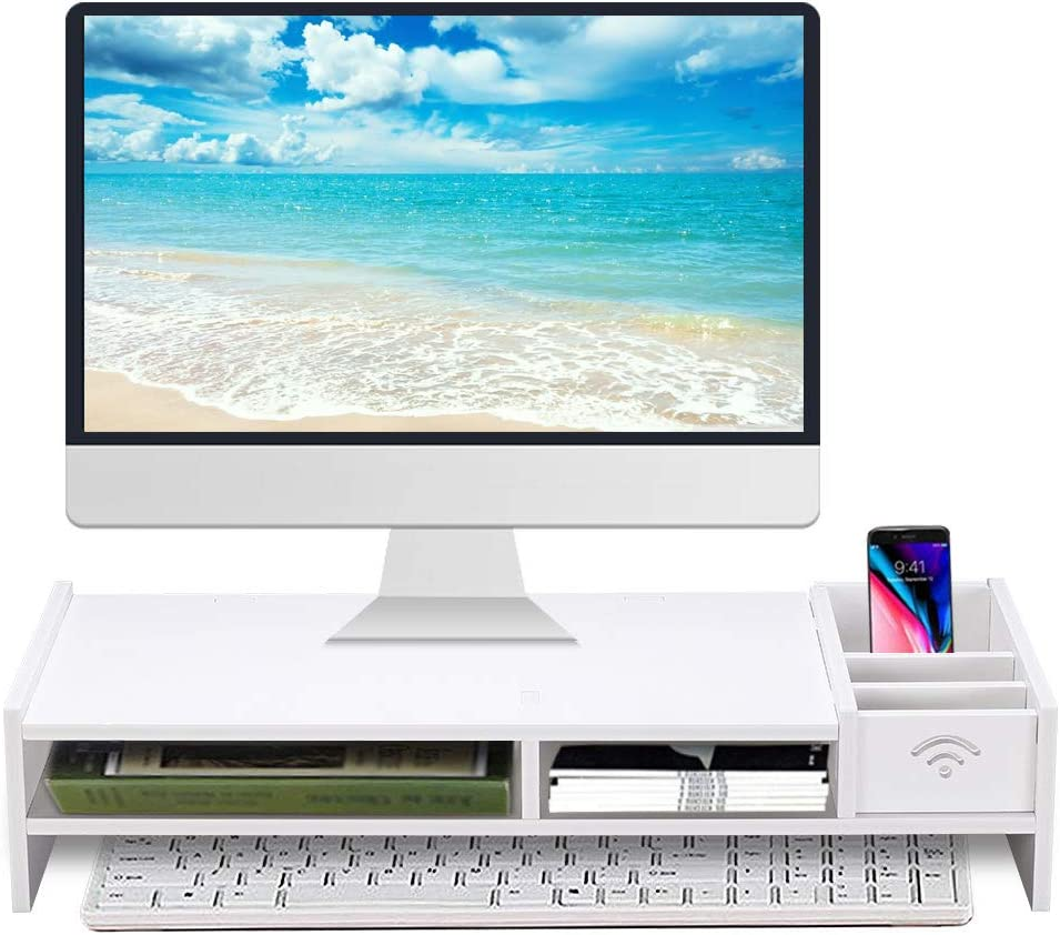 "Monitor Stand Riser, Computer Laptop Riser Shelf with Organizer Drawer (White, 19""L x 8""W x 4""H)"