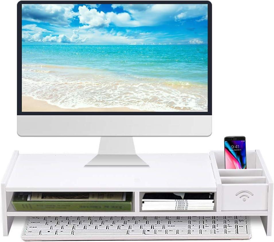 "Monitor Stand Riser, Computer Laptop Riser Shelf with Organizer Drawer  (White, 422""L x 422""W x 42""H)"