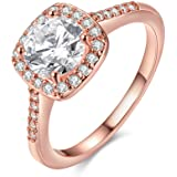 EnjoIt Silver Gold Plated CZ Crystal Square Rings Wedding Rings for Women C1860