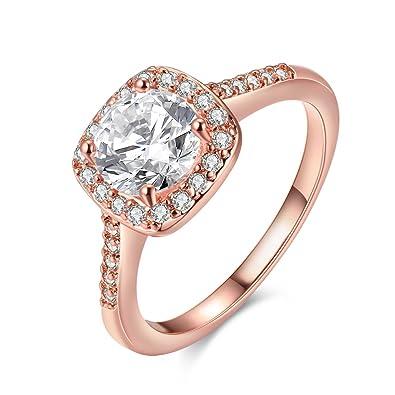 f5f661ce9934 Amor Eterno Mujeres Boda Compromiso Anillos 18K Oro Plateado Cz Diamantes  Marcas Solitarias Princesa Corte Promesa Aniversario Novia Joyería Amor  Infinito ...
