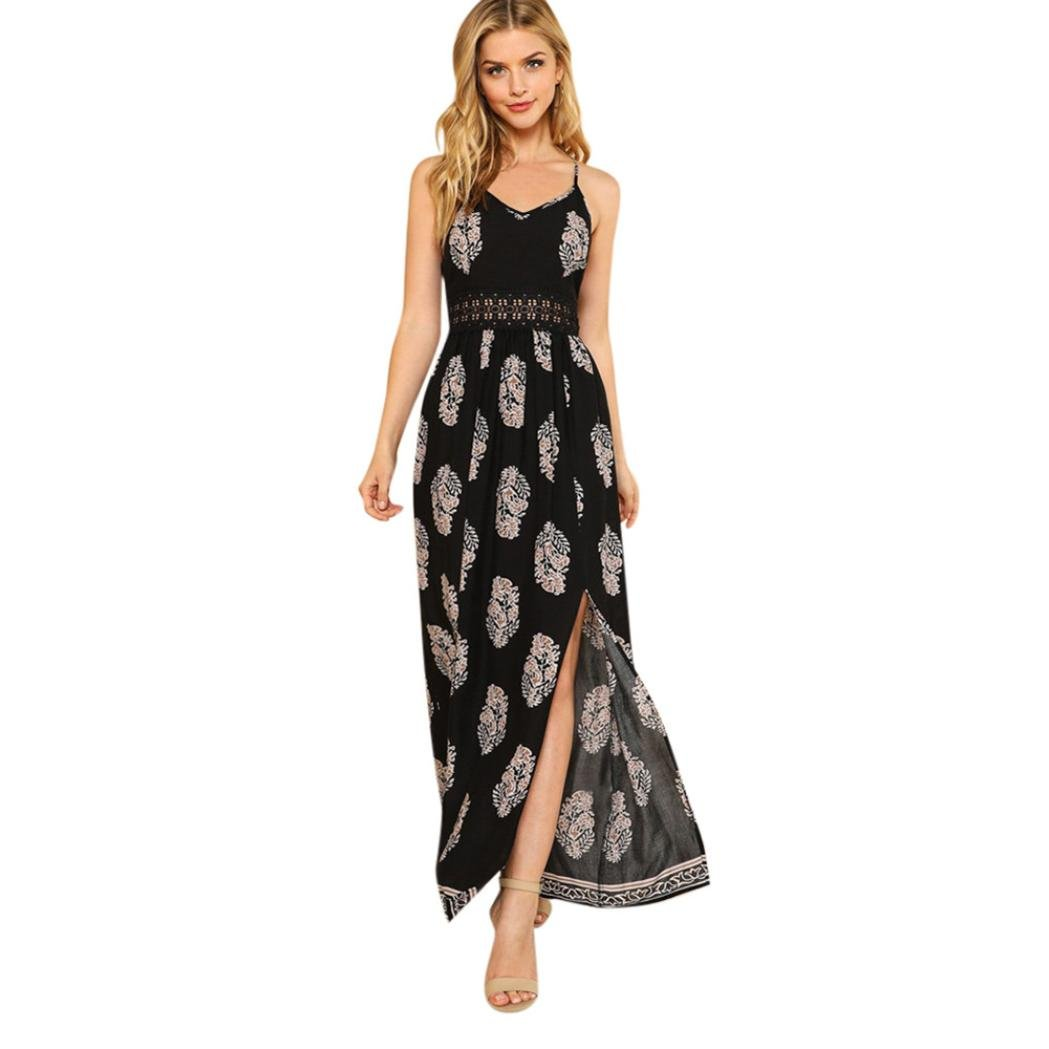 ESAILQ Damen Feder Lange Boho hohlen Kleid Lady Beach Sommer Sundrss Maxi-Kleid