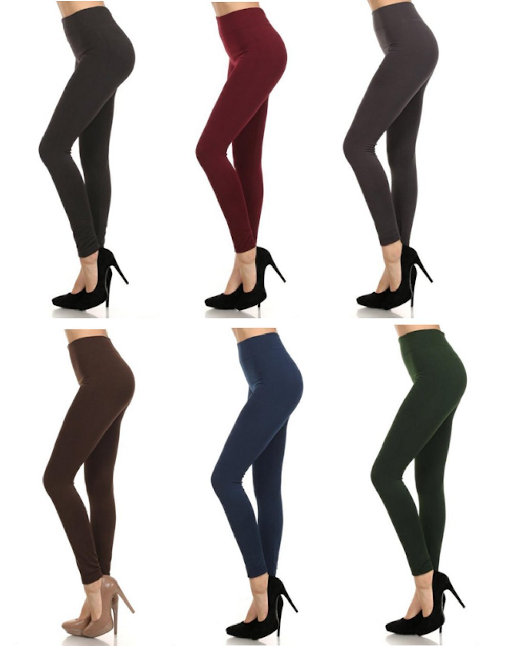 MOPAS 6-pack: Seamless Fleece Lined Leggings - Stretchy Multi Colors.