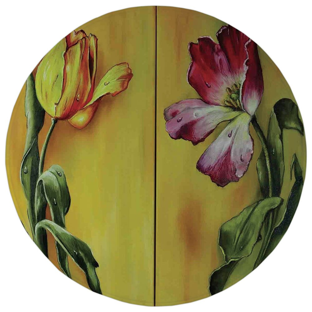 Round Rug Mat Carpet,Country,Painting of Curving Tulips Romantic Dramatic Blooming Flower Retro Art Print Decorative,Pink Yellow Green,Flannel Microfiber Non-slip Soft Absorbent,for Kitchen Floor Bath