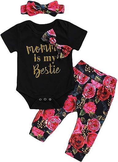 DaMohony - Conjunto de ropa de bebé de algodón de manga corta con estampado de letras + pantalones florales + diadema 3 piezas para recién nacidos de 0 a 18 meses: Amazon.es: Ropa y accesorios