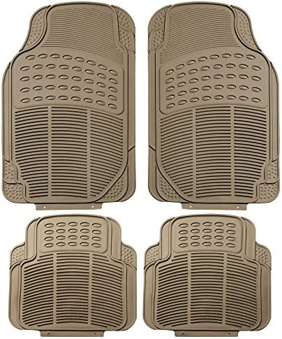 FH Group FH-R11305 Rubber Floor Mats Beige-Fit Most Car, Truck, SUV, or Van