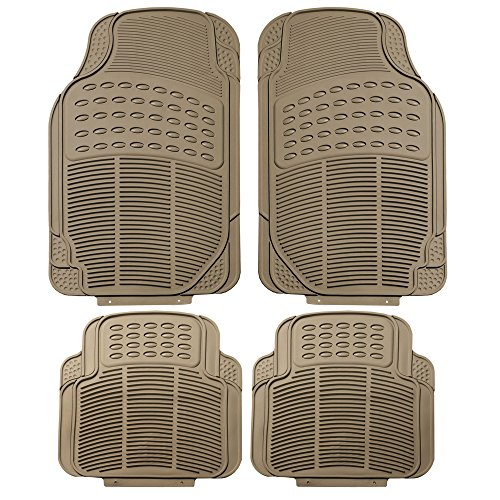 Tan All Weather Floor Mat, 4 Piece (Full Set Trimmable Heavy Duty) ()