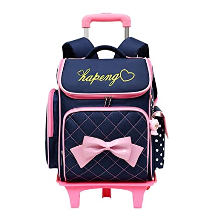 591126a7b6 Adanina Cute Print Bowknot Trolley Backpack Elementary Middle School  Rolling Bag Wheeled Waterproof Bookbag with Little Cuty Doll for Kids  Girls  ...