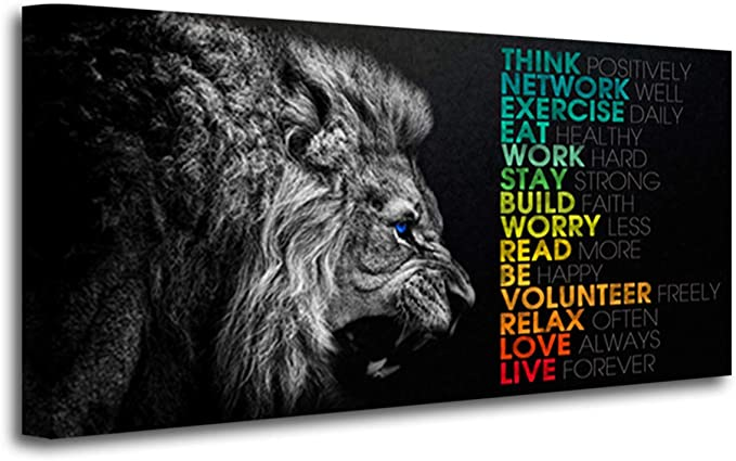 Amazon Com Animal Lion Canvas Wall Art Motivational Inspirational Quotes Picture Canvas Prints With Frame Wall Art Decorative Posters Prints