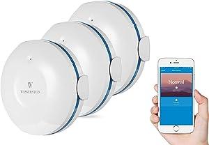 Wasserstein WiFi Water Leak Sensor, Smart Flood Detector (3-Pack, White)