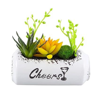 Succulent plant + olla de cerámica con forma de botella suculenta Artificial Planta en maceta de