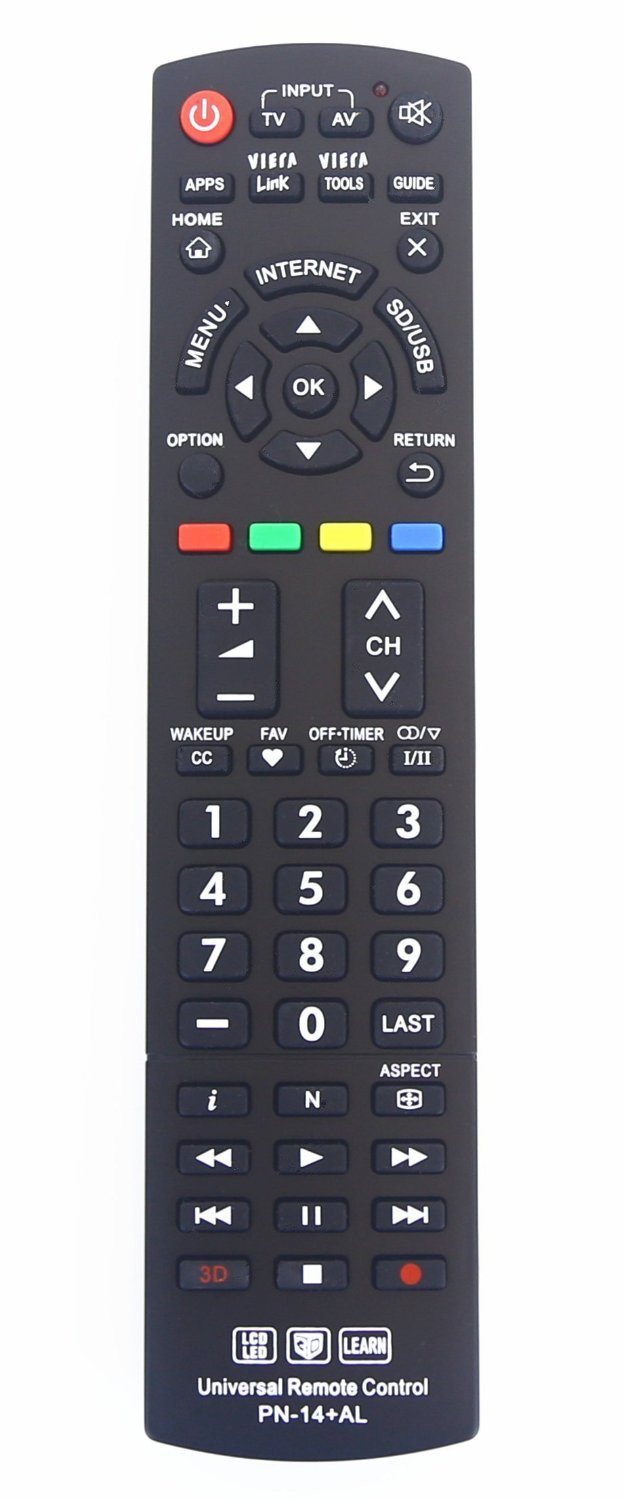 Gvirtue Universal Remote Control Compatible Replacement for Panasonic TV/ VIERA Link/ HDTV/ 3D/ LCD/ LED, N2QAYB000485 N2QAYB000100 N2QAYB000221 N2QAYB00048 by Gvirtue