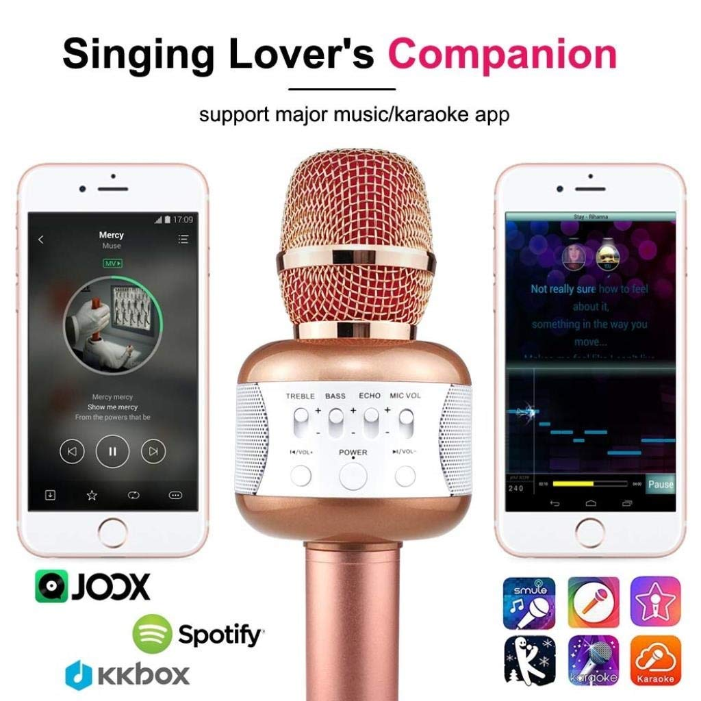 Rsiosle Wireless Bluetooth Karaoke Microphone with Mini USB Disco Lights Portable KTV Music Player Singing Mic Compatible with Android and iOS ( Color : Gold ) by Rsiosle (Image #3)