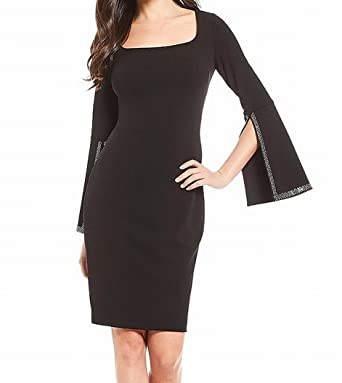 9bae46a7 Image Unavailable. Image not available for. Color: Calvin Klein Women's  Embellished Split-Sleeve Sheath Dress, Black ...
