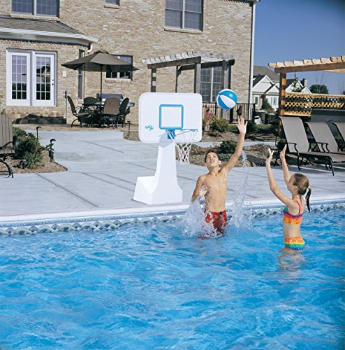 Dunnrite Products Pool Sport 2-in-1 Swimming Basketball Hoop and Volleyball Combo Set
