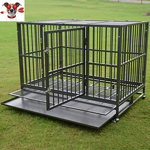 """Dog Crate Two Doors & Double Lock System 37""""/42""""/48"""" Pet Cage w/Wheels,Heavy Duty Steel Strong Metal Kennel, (42"""")"""