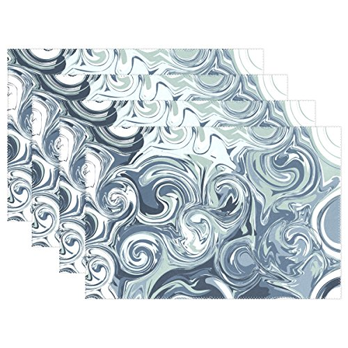 Hokkien Blue Viper Marble Background Gray Placemat Heat-Resistant Stain Resistant Polyester Fabric Tray Mat for Kitchen Dining Table 12 x 18 inch Set of 4 ()