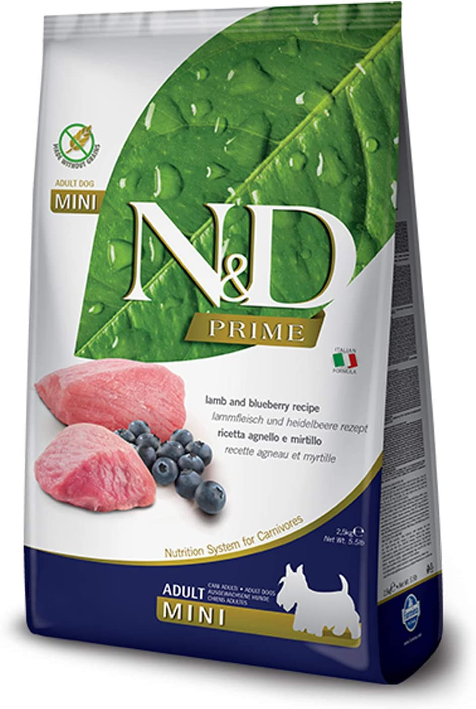 Farmina Natural And Delicious Grain-Free Formula Dry Dog Food, 5.5-Pound, Lamb