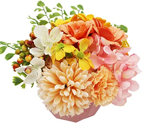 Amazon Com Lumiphire Artificial Flower Arrangement With Pot Home Decor Mother S Day Presents Gifts For Mom Living Room Accessories Table Centerpiece Thank You Birthday Anniversary Camelia Hydrangea 15cm Pink Home Kitchen