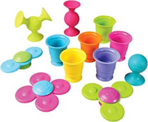 Fat Brain Toys Pipsquigz Whirly-Squigz Suction-Kupz Set - 12 Piece Early Learner Toys - 6 Suction Kupz Stacking Toys, 3 PipSquigz, 3 Whirly Squigz Spinners in Zippered Storage Case - BPA-Free Silicone