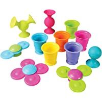 Fat Brain Toys Pipsquigz Whirly-Squigz Suction-Kupz Set - 12 Piece Early Learner Toys - 6 Suction Kupz Stacking Toys, 3…