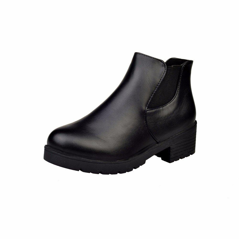 Robemon♚Automne Hiver Concis Style Chelsea Semelle É pais Retro Cuir Chaussures Femme Talon Plate Cheville Bottes