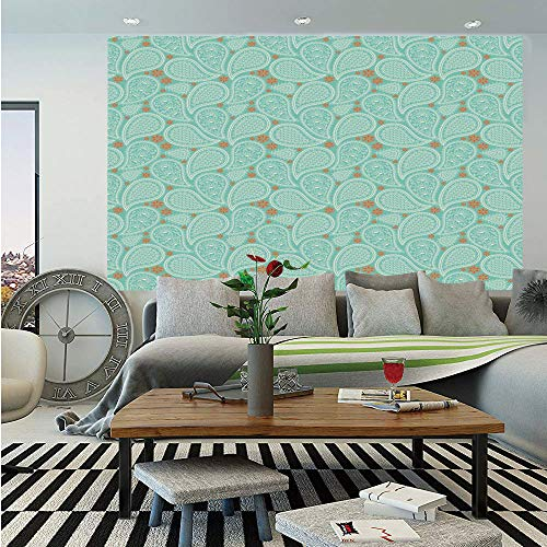 Ethnic Huge Photo Wall Mural,Sky Blue Backdrop Ethnic Tribal Abstract Paisley Floral Inspired Shapes Image,Self-Adhesive Large Wallpaper for Home Decor 100x144 inches,Orange and White
