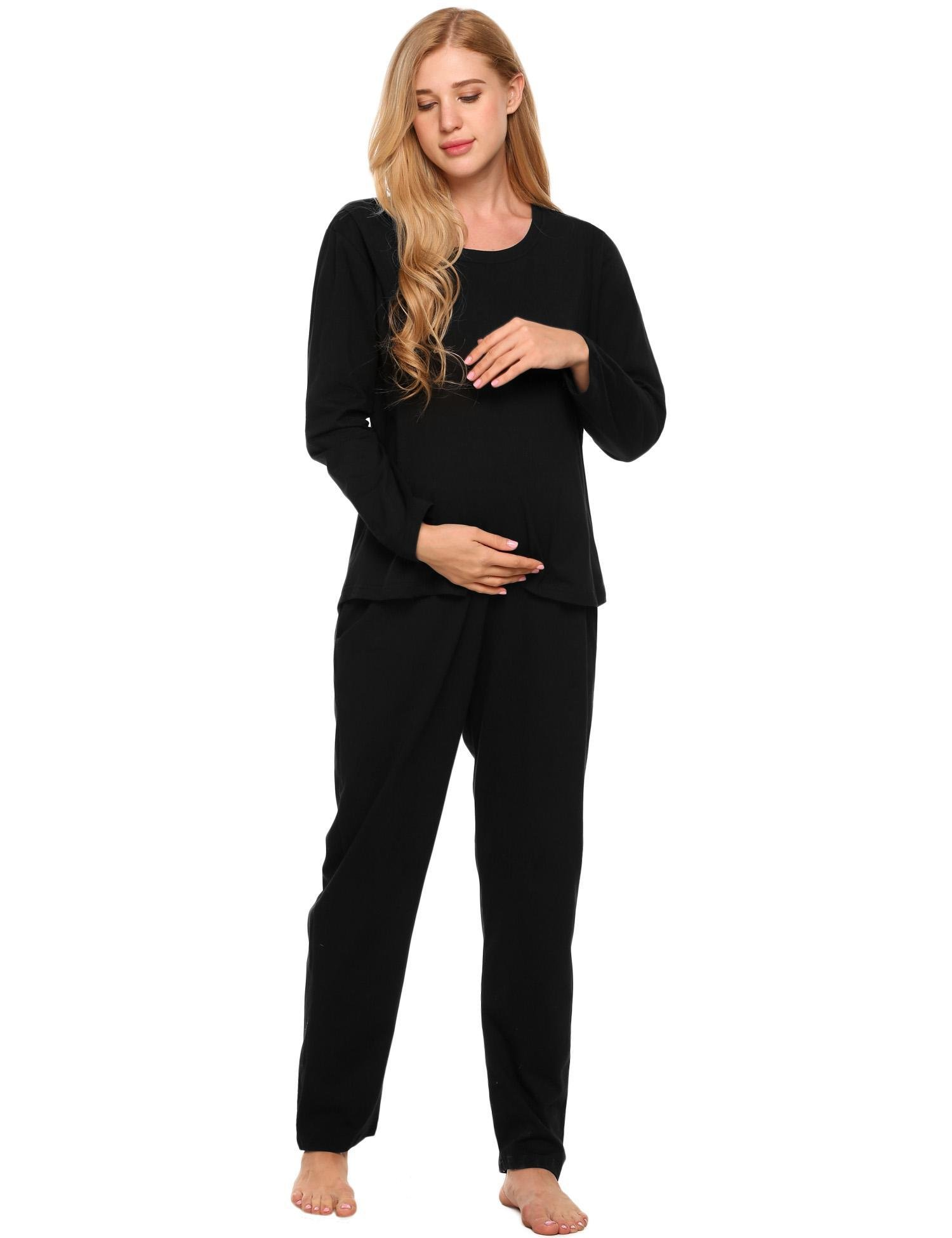 etuoji Soft Maternity Nursing Pajamas Set Long Sleeve Cotton Breastfeeding Loungewear Sleepwear