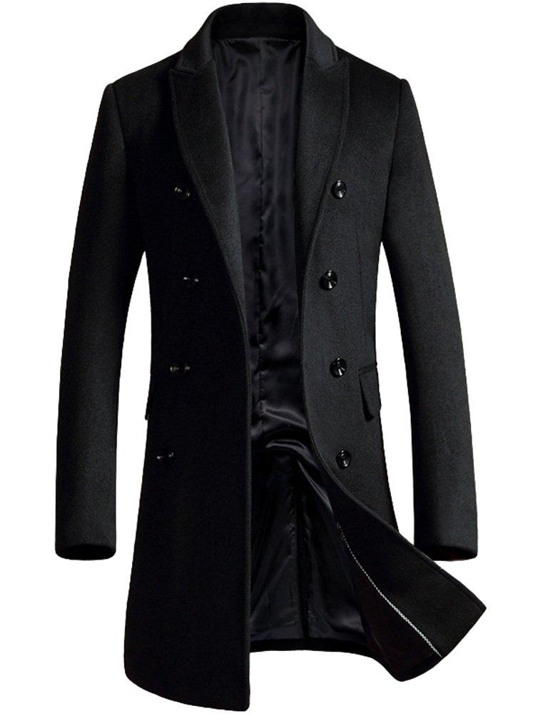 Mordenmiss Men's Premium Double Breasted Woolen Pea Coat Notched Collar Overcoat Black L