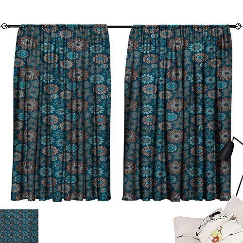Ediyuneth Teal Curtains Flower,Summer Season Illustration with Blooming Petals with Ornate Swirls and Stars,Orange Dark Blue 54