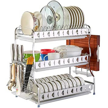 Amazon Com 304 Stainless Steel Large 3 Tier Dish Drainer Plate Rack