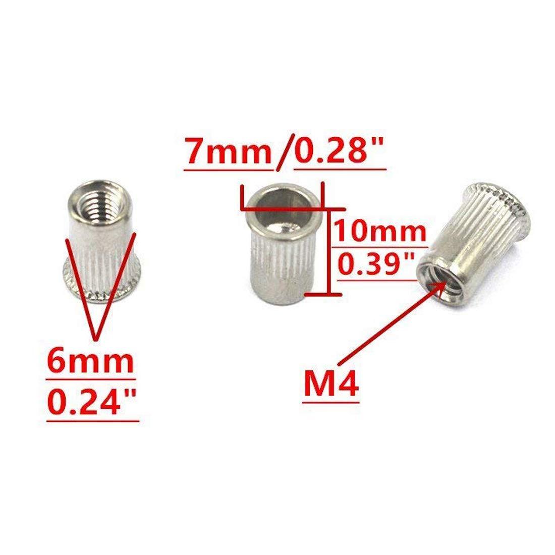 M8 Sydien M8 x 17mm Knurled Countersunk Head Blind Rivet Nut Insert Nutsert 20PCS