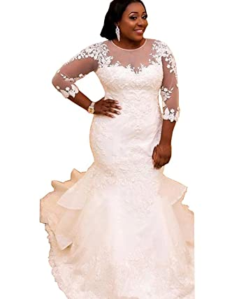QueenBridal Sheer Neckline Plus Size Mermaid Lace Wedding Dresses ...