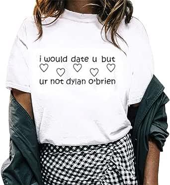 YEBIRAL Camisetas Mujer Manga Corta Verano Letra Impreso ...