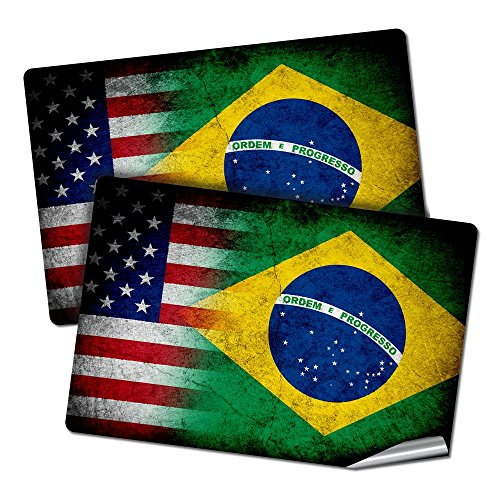 """ExpressItBest Two 2""""x3"""" Decals/Stickers with Flag of Brazil - Rustic w USA Flag - Long Lasting Premium Quality"""