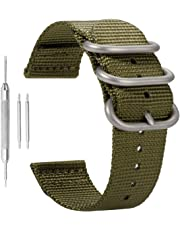 Army Green High-end Nato style Ballistic Nylon Canvas Watch Band Strap Replacement for Men Braided