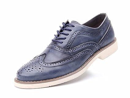 Amazon Com Glshi Men Brogue Shoes British Vintage Leather Casual